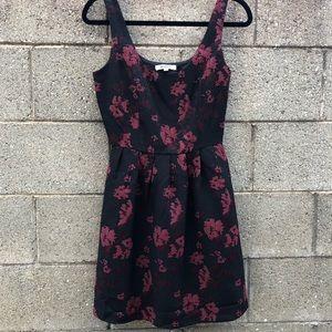 BB DAKOTA Dress Black Red Floral Mid Size 2